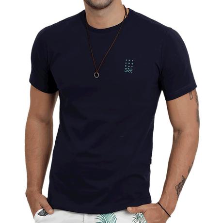 Camiseta Manga Curta Ondas Marinho