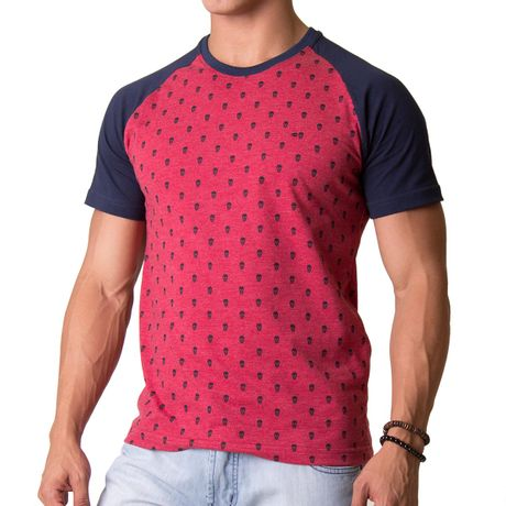 Camiseta-Manga-Curta-Adulto-Skull-Pattern-Vermelho