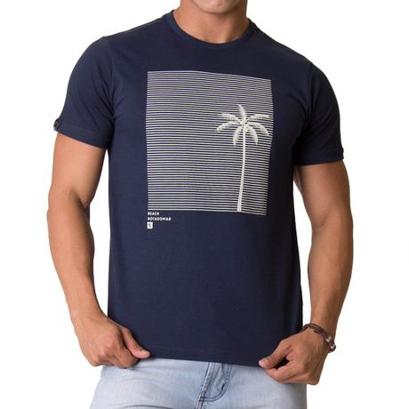Camiseta-Manga-Curta-Adulto-Beach-Summer-Azul-Marinho