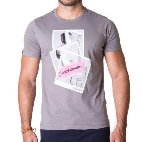 Camiseta-Manga-Curta-Adulto-I-Need-Music-Cinza