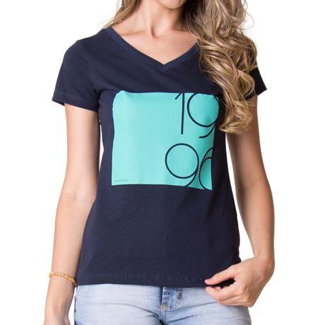 Camiseta-Feminina-Gola-V-96-Azul-Marinho-
