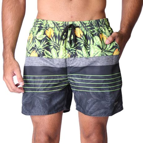 Short-com-Elastico-Adulto-Pineapple-And-Leaves-Preto
