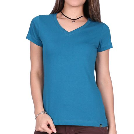 Camiseta-Feminina-Gola-V-Basic-Verde-Petroleo