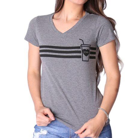 Camiseta-Feminina-Gola-V-Coffee-Mescla-Cinza