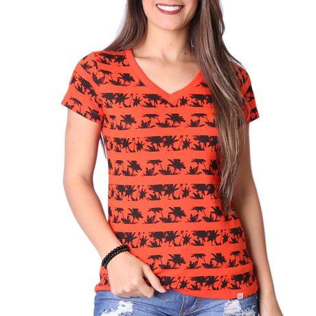Camiseta-Manga-Curta-Feminina-Gola-V-Coqueiros-Laranja