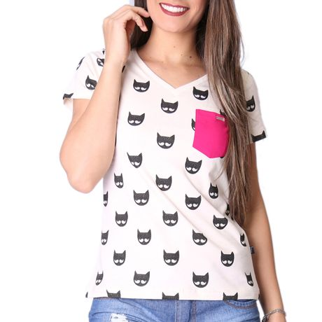 Camiseta-Manga-Curta-Feminina-The-Cats-Bege