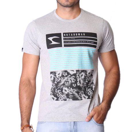 Camiseta-Manga-Curta-Adulto-Flowers-Mescla-Cinza