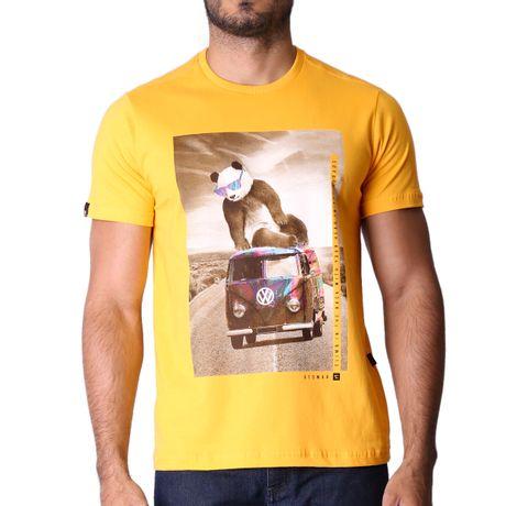 Camiseta-Manga-Curta-Adulto-Psychedelic-Panda-Amarelo