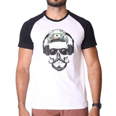 Camiseta-Manga-Curta-Raglan-Skull-and-Headphones-Branco