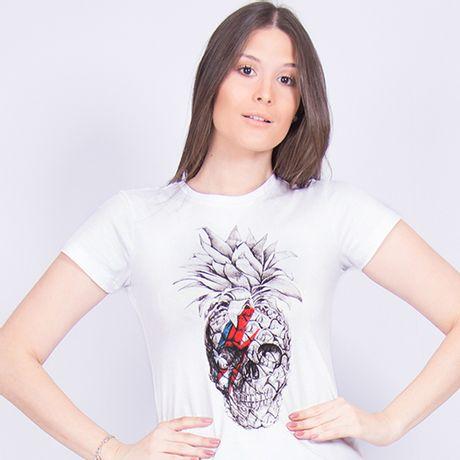 Camiseta-Estampa-Pineapple-Skull-Branco