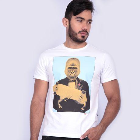 Camiseta-Manga-Curta-Gorila-Branco