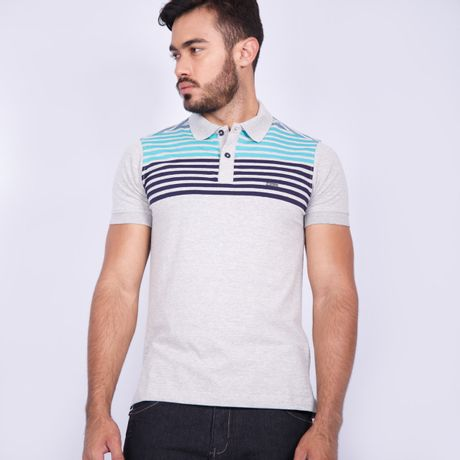 Camisa-Polo-Stripes-Mescla-Cinza