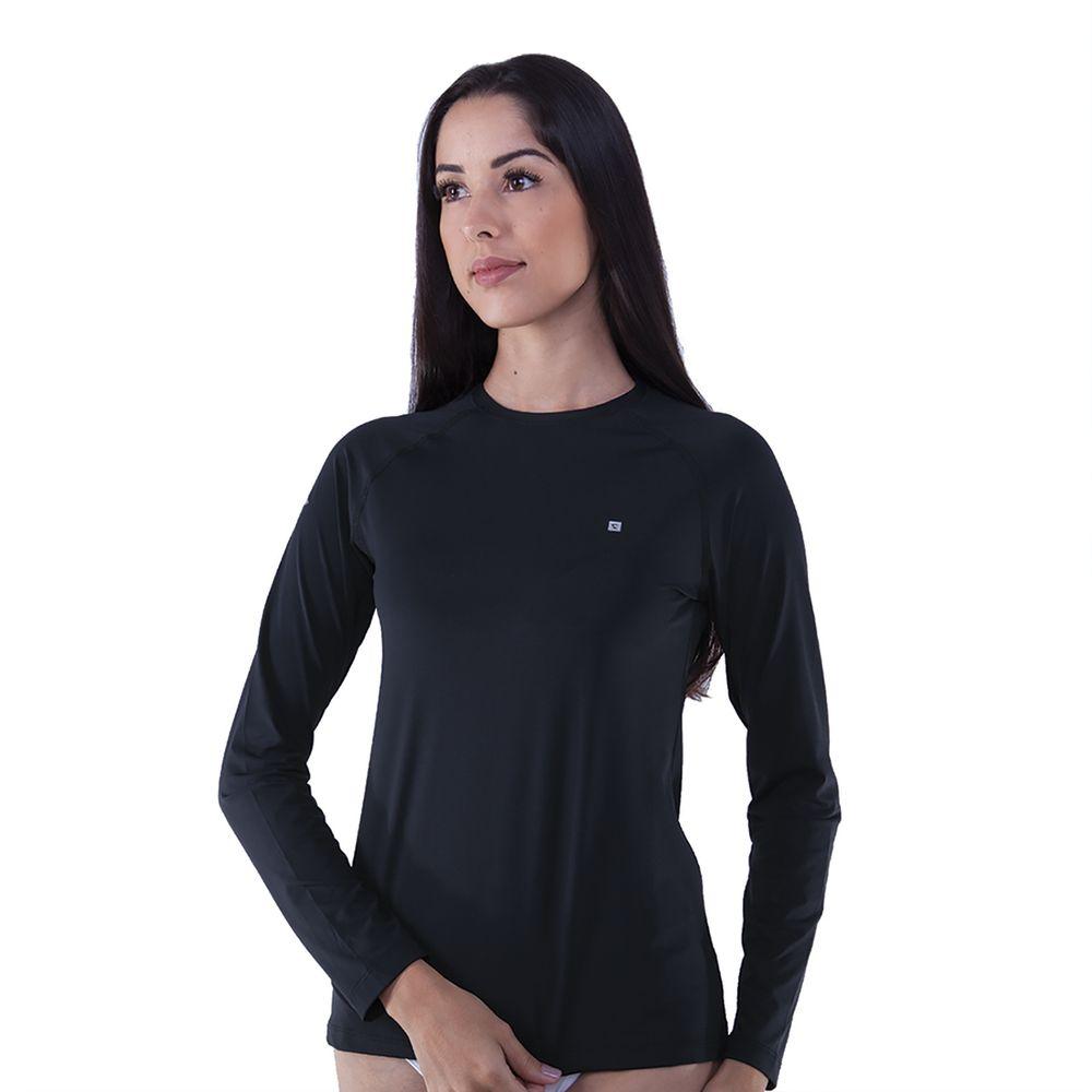 37d58e093 Rota do Mar · Proteção Solar · Camiseta UV. 301455-Camiseta -manga-longa-feminina-com-protecao-preto ...