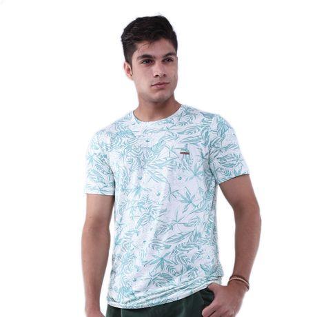 Camiseta-em-Malha-Viscose-Estampa-Folhagem-Grafitada