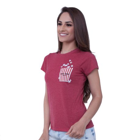 Camiseta Básica Estampa Pop Corn