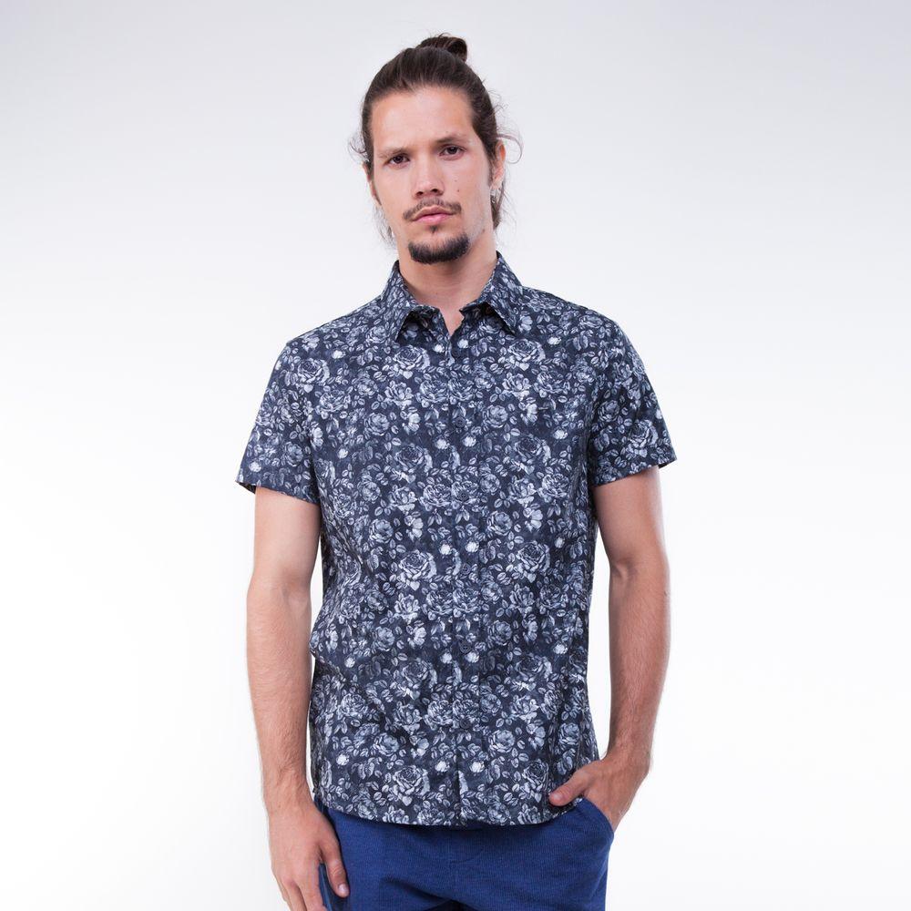 Camisa Manga Curta Flores P B - Rota do Mar 54347d57e9fac