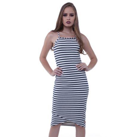 397c6381d Vestido Malha Canelada Listrado - Rota do Mar